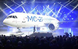 Ruský letoun MS-21 při prezentaci v červnu 2016