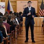 Předseda Sněmovny reprezentantů amerického Kongresu Paul Ryan v pražském sídle Senátu na debatě se studenty uspořádané Politologickým klubem Fakulty sociálních věd UK