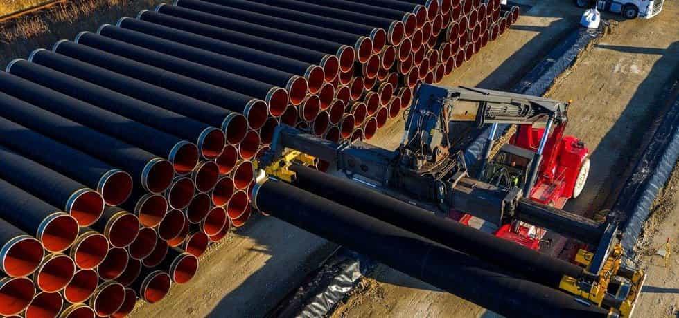 Potrubí pro stavbu plynovodu, ilustrační foto