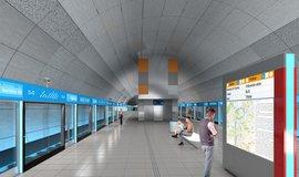 Vizualizace stanice metra D Nové Dvory