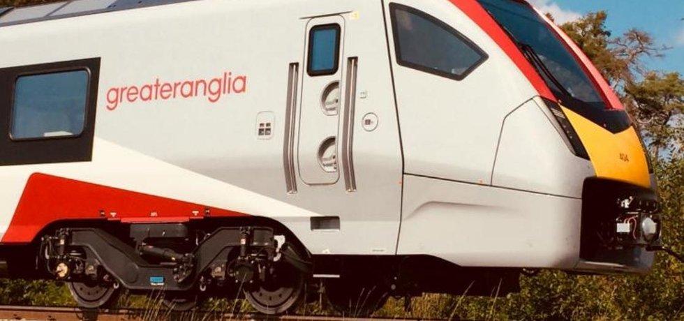 Testovaný vlak firmy Stadler pro Greater Anglia ve Velimi.