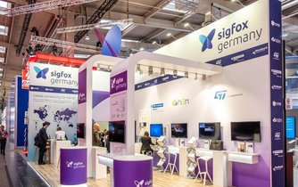 Stánek firmy Sigfox na veletrhu v Hannoveru, ilustrační foto