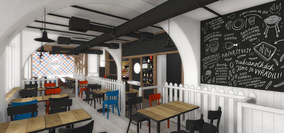 Vizualizace nové restaurace Kofoly NaGrilu