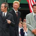 Boris Becker s Petem Samprasem a Johnem McEnroem v roce 1997 při zahájení Wimbledonu.