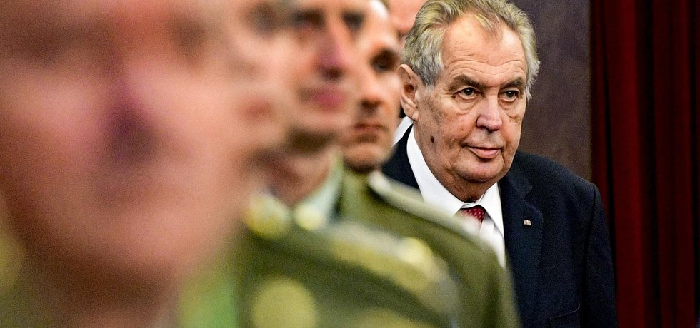 Miloš Zeman na velitelském shromáždění k prioritám a hlavním úkolům armády v roce 2020, které se uskutečnilo 20. listopadu 2019 v Praze.