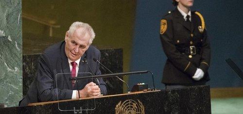 Český prezident Miloš Zeman při projevu ve všeobecné rozpravě Valného shromáždění OSN