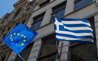 Vlajky Řecka a Evropské unie, ilustrační dnímek
