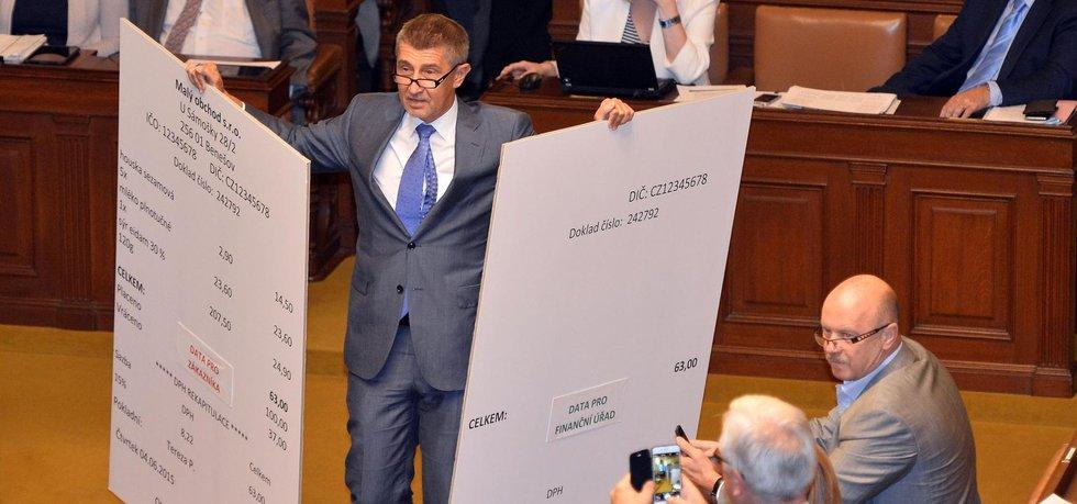 DIVADELNÍ PRVEK. Tak by šly vystihnout obří makety účtenek, které ministr financí Andrej Babiš přinesl do parlamentu během prvního čtení zákona o elektronické evidenci tržeb v červenci.