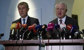 Předseda hnutí ANO a premiér Andrej Babiš a předseda poslaneckého klubu ANO Jaroslav Faltýnek