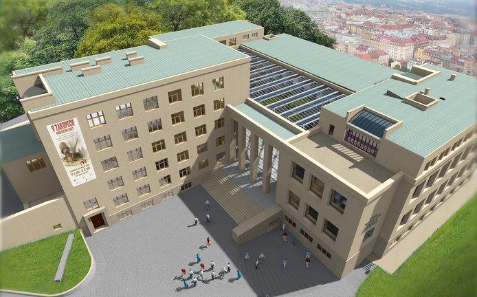 Nová podoba. Takhle by mělo pražské Armádní muzeum vypadat v roce 2020. Vcházet dovnitř se bude pod hlavními schody, z obnoveného uměleckého ateliéru na střeše se stane vyhlídková kavárna s terasou.