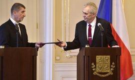 Prezident Miloš Zeman přijímá demisi premiéra Andreje Babiše
