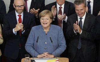Kancléřka Angela Merkelová při projevu ke členům konzervativní unie CDU/CSU