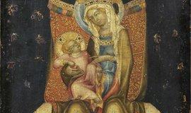 Obraz Trůnící Panna Marie s dítětem z dílny Mistra vyšebrodského oltáře