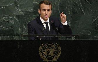 Francouzský prezident Emmanuel Macron přednáší projev na půdě OSN