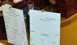 Ministr financí Andrej Babiš s replikami účtenek ve sněmovně