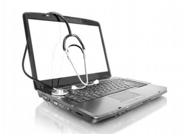 laptop, počítač, ehealt, fonendoskop