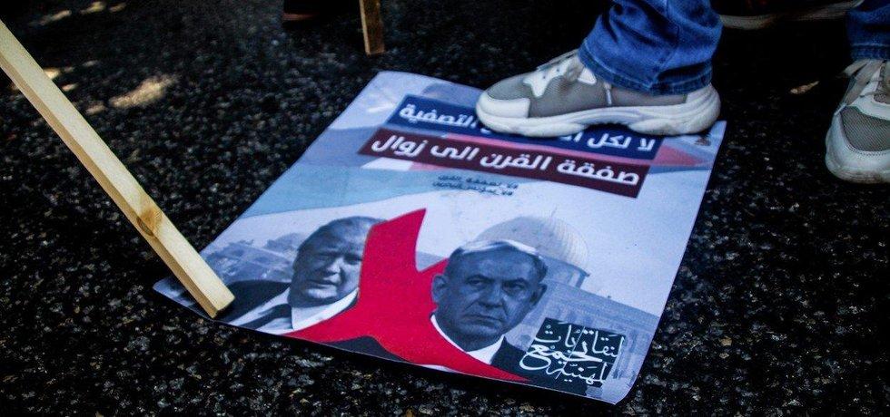 Palestinský pochod proti plánu řešení izraelsko-palestinského konfliktu představenému Donaldem Trumpem.