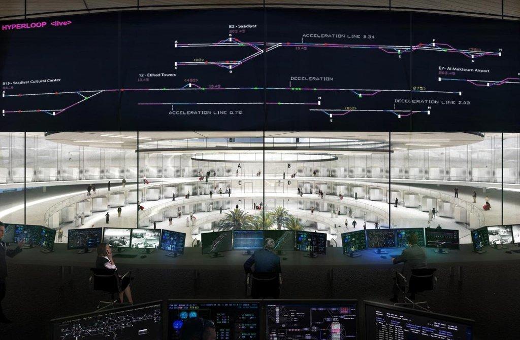 Vizualizace dispečinku hyperloopové přepravy.