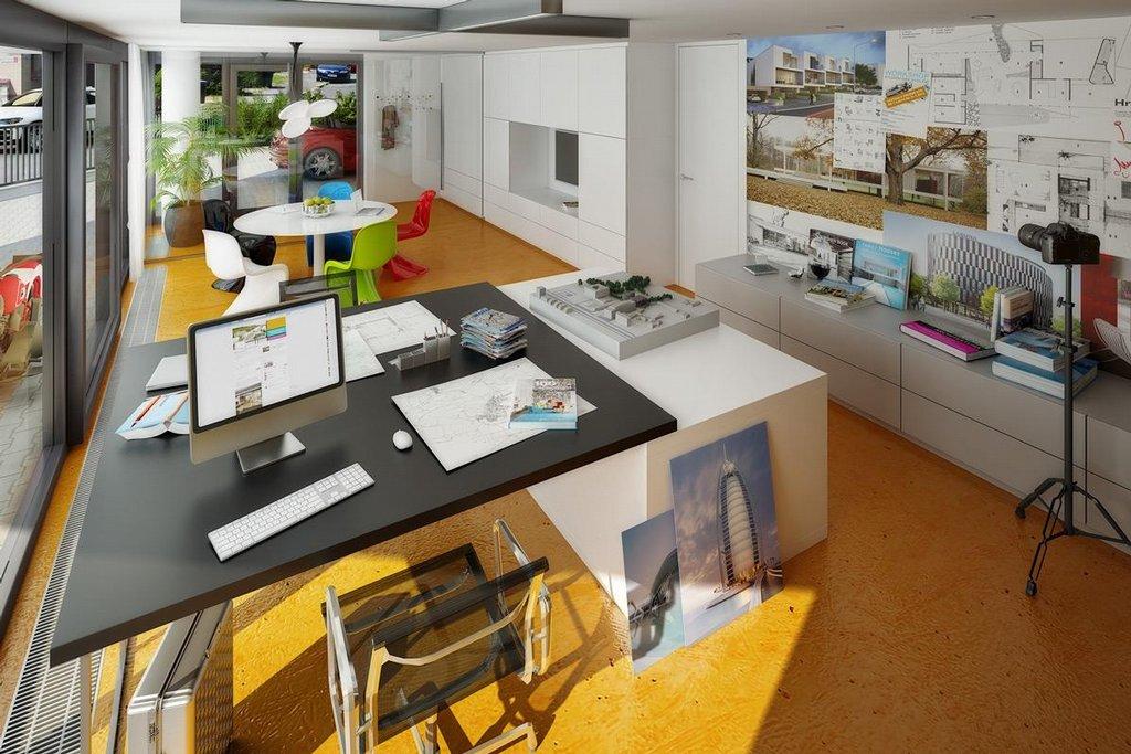 Solitérní vila – možnost uspořádání pracovny