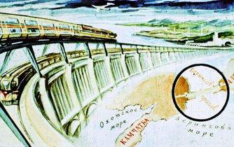 Bude to hračka. Atomové vlaky se řítí po hrázi přehrady přes Beringovu úžinu. Svět v roce 2017 na diafilmu sovětského malíře A. Směchova z roku 1960.