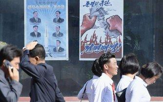 Propaganda v ulicích Pchjongjangu