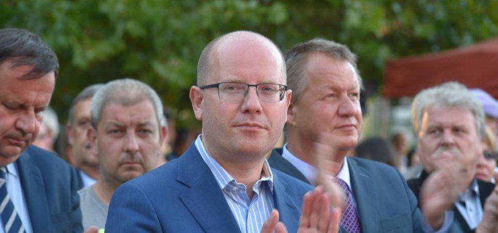 Předseda ČSSD a premiér Bohuslav Sobotka během zahájení předvolební kampaně v Plzni.