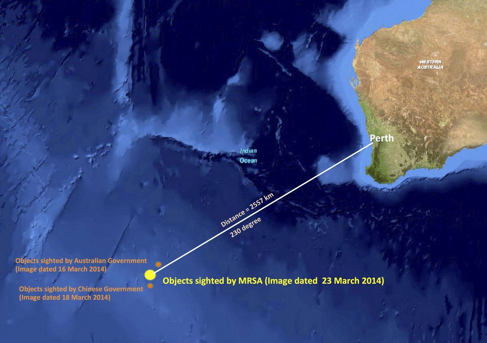 Místo v Indickém oceánu, kde byly lokalizovány objekty, které mohou být troskami zmizelého letu MH370 Malaysia Airlines
