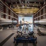 Hangár na startovacím komplexu 39. Mys Canaveral, Florida, USA.