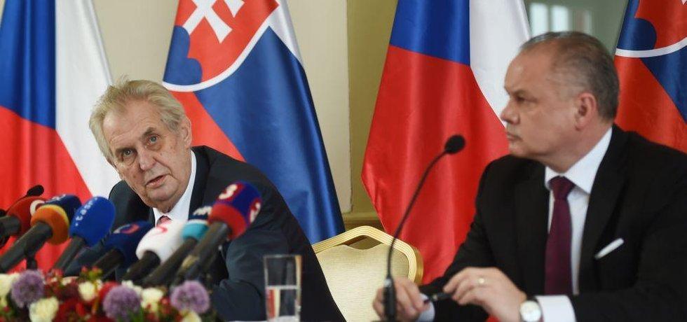 Prezident Miloš Zeman se svým slovenským protějškem Andrejem Kiskou
