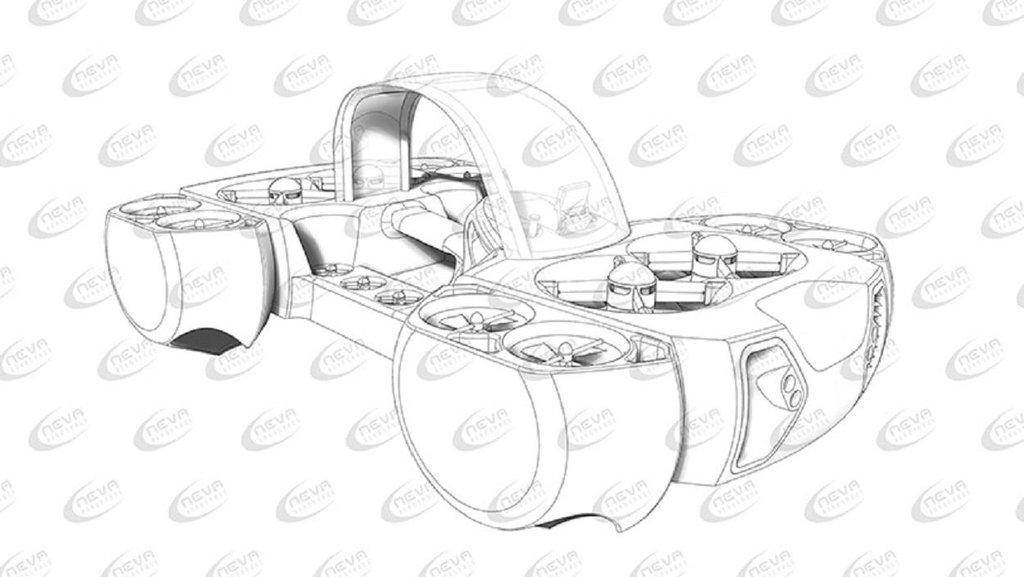 Plán létajícího elektrodronu AirQuadOne firmy Neva Aerospace.