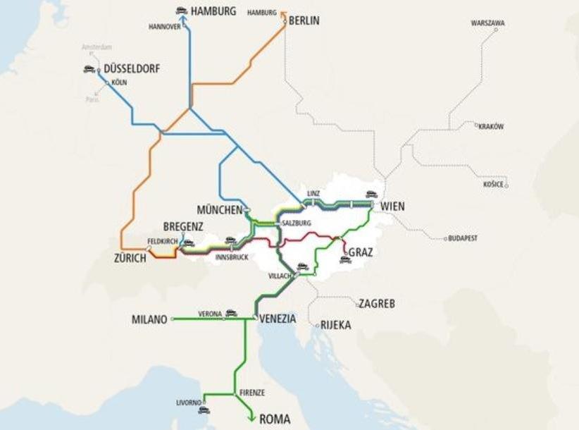 Plán sítě vlaků Nightjet