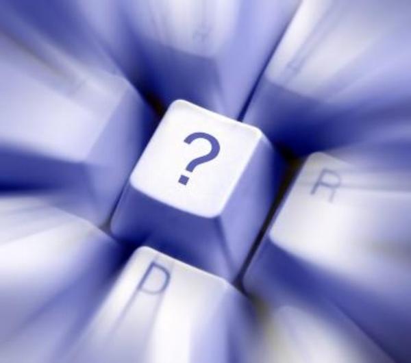 otazník, klávesnice, počítač