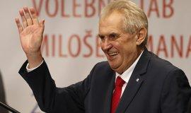 Prezident Miloš Zeman slaví své vítězství ve volbách