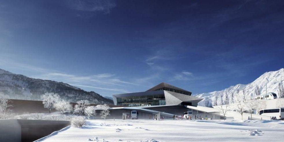 Vizualizace nádraží v Alpách. Vysokorychlostní trať má pomoci lyžařskému byznysu a turistickému ruchu.