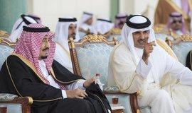 Král Saúdské Arábie Salman bin Abdulaziz akatarský emír  Sheikh Tamim bin Hamad Al Thani