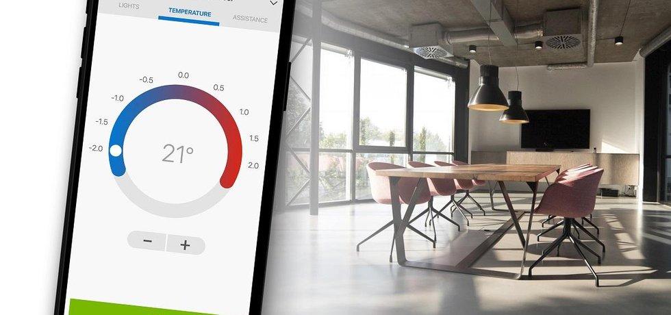 Mobilní aplikace pro nastavení klimatizace v kanceláři.