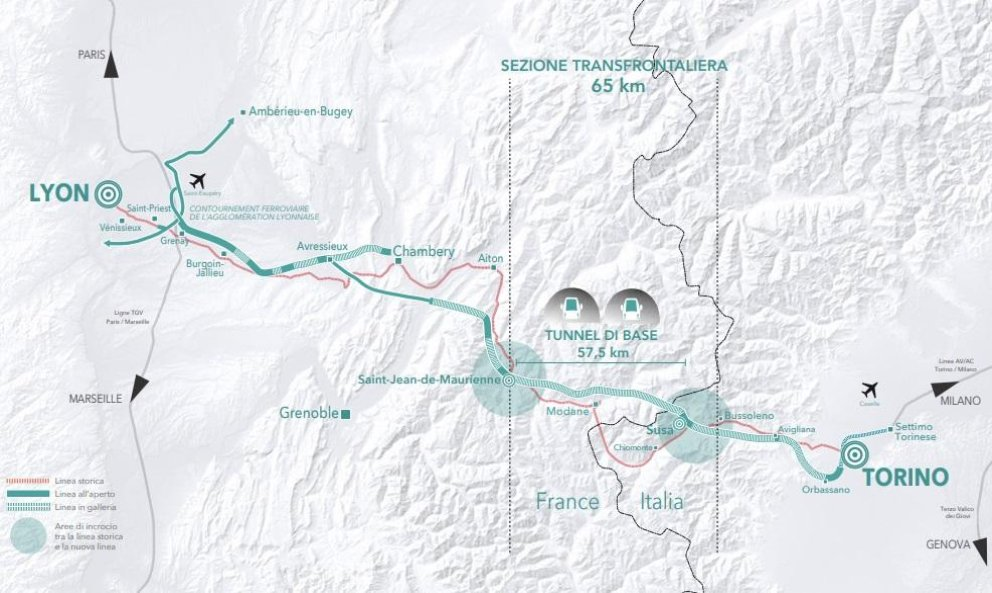 Mapa projektu vysokorychlostní železnice mezi Lyonem a Turínem.