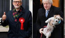 Jeremy Corbyn a Boris Johnson v den voleb 12.12. 2019