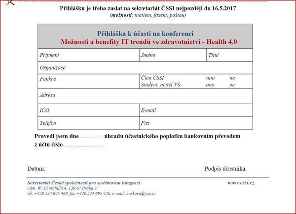 Přihláška - konference Možnosti a benefity IT trendů ve zdravotnictví - Health 4.0