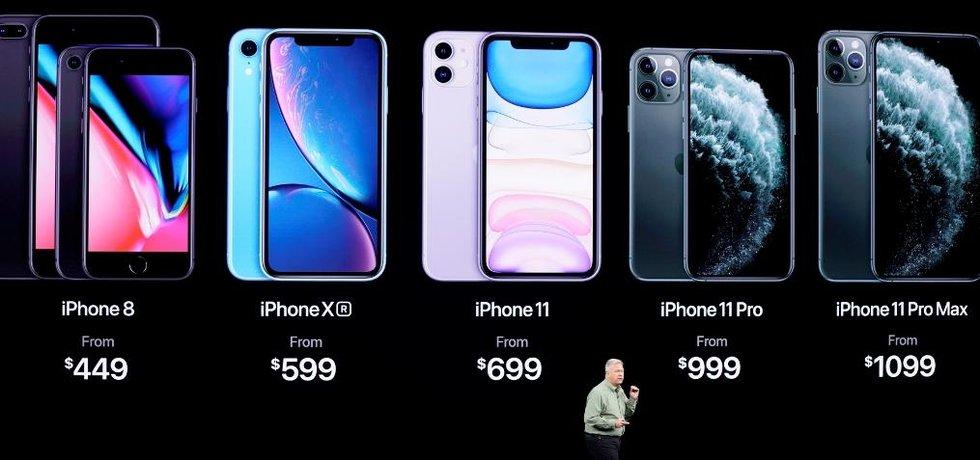 Představení nových iPhonů 11. Apple je představil 10.9. 2019. Na snímku je šéf marketingu Applu Phil Schiller