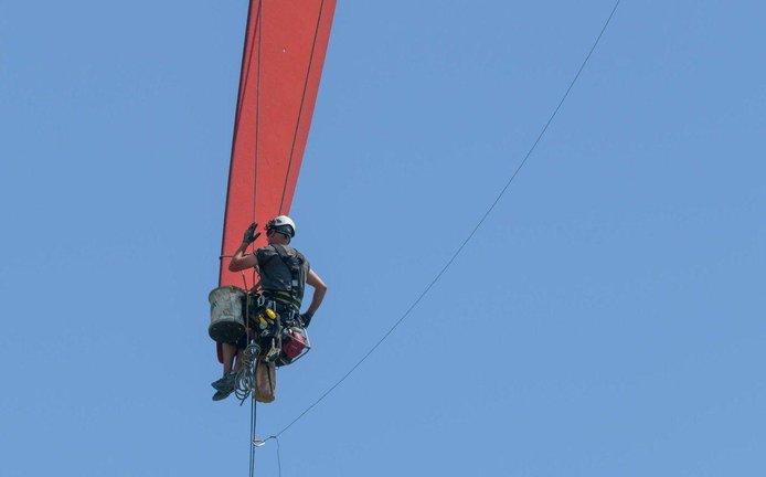 Oprava lopatky rotoru větrné turbíny, ilustrační foto