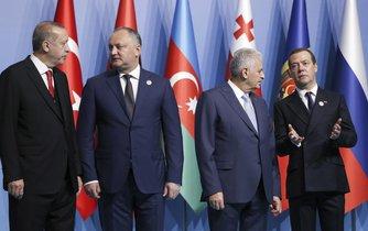Recep Tayyip Erdogan, Igor Dodon, Dmitry Medvedev