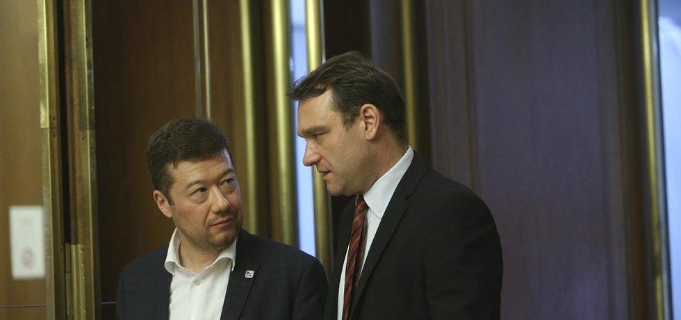 Lídři SPD: předseda Tomio Okamura a předseda poslaneckého klubu Radim Fiala