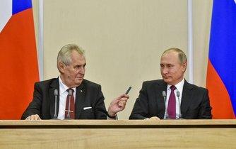 Český prezident Miloš Zeman a jeho ruský protějšek Vladimir Putin