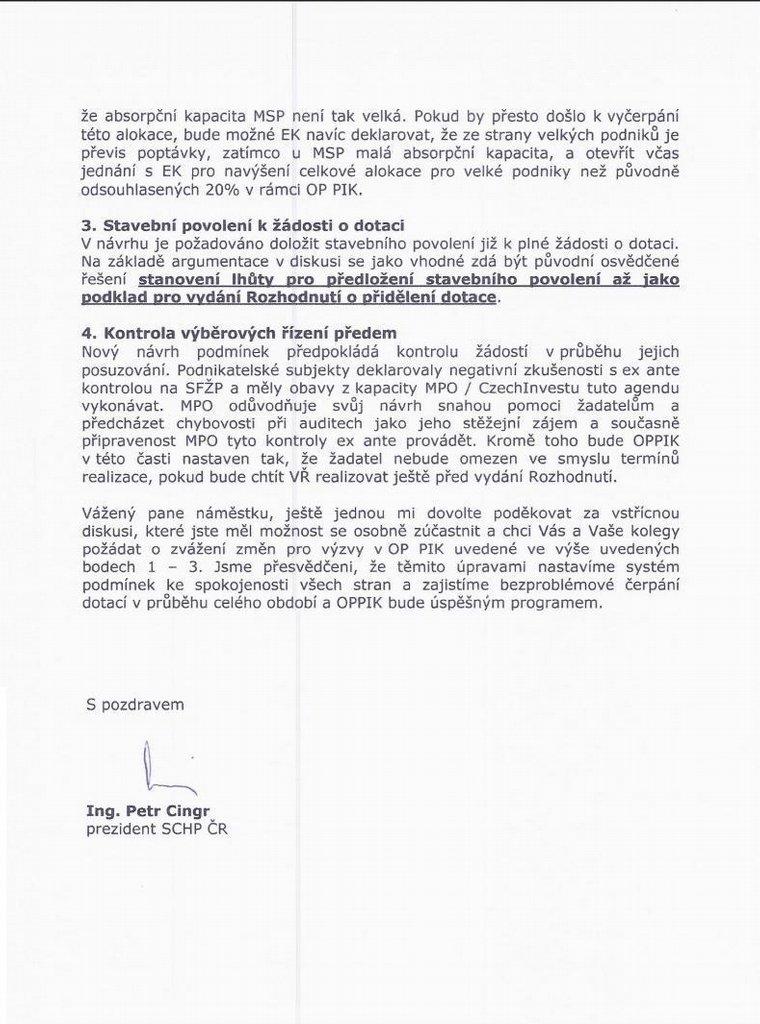 Dopis místopředsedy představenstva Agrofertu Petra Cingra náměstkovi ministra průmyslu Tomáši Novotnému