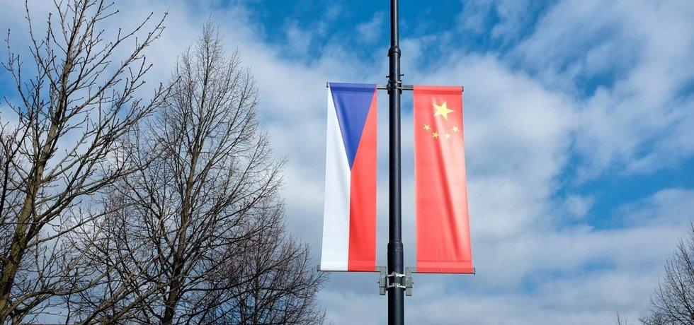 Česká a čínská vlajka