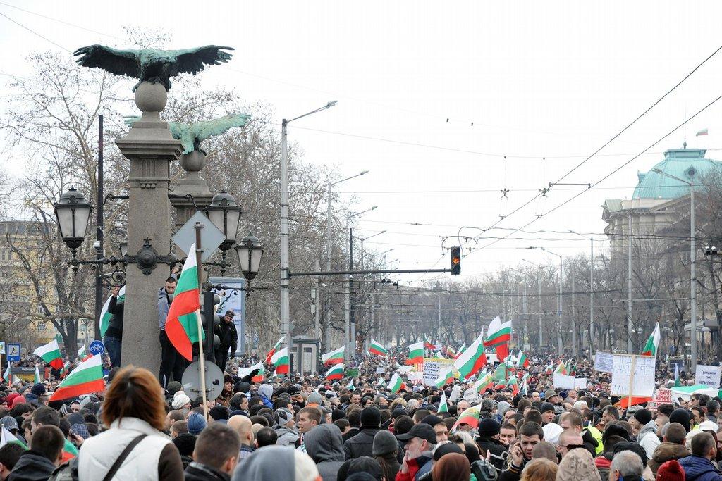 Demonstranti u Orlího mostu.