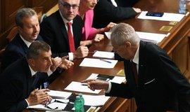 Miloš Zeman a Andrej Babiš na schůzi Sněmovny