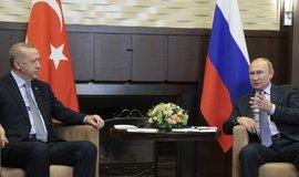 turecký prezident Recep Tayyip Erdogan spolu s ruským protějškem Vladimirem Putinem