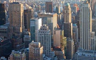 Výhled na centrum New Yorku, finanční srdce Spojených států